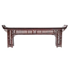 Large Chinese Console in Red Lacquered Bamboo, Late 19th Century