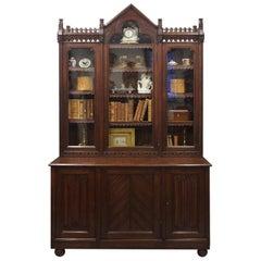 Gothic Scottish Pitch Pine Cabinet Bookcase