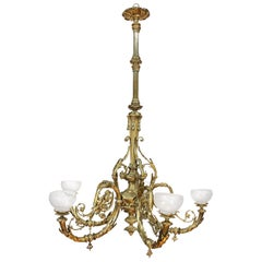 Early Victorian 6 ft Ormolu Five-Branch Chandelier, Mid-19th Century