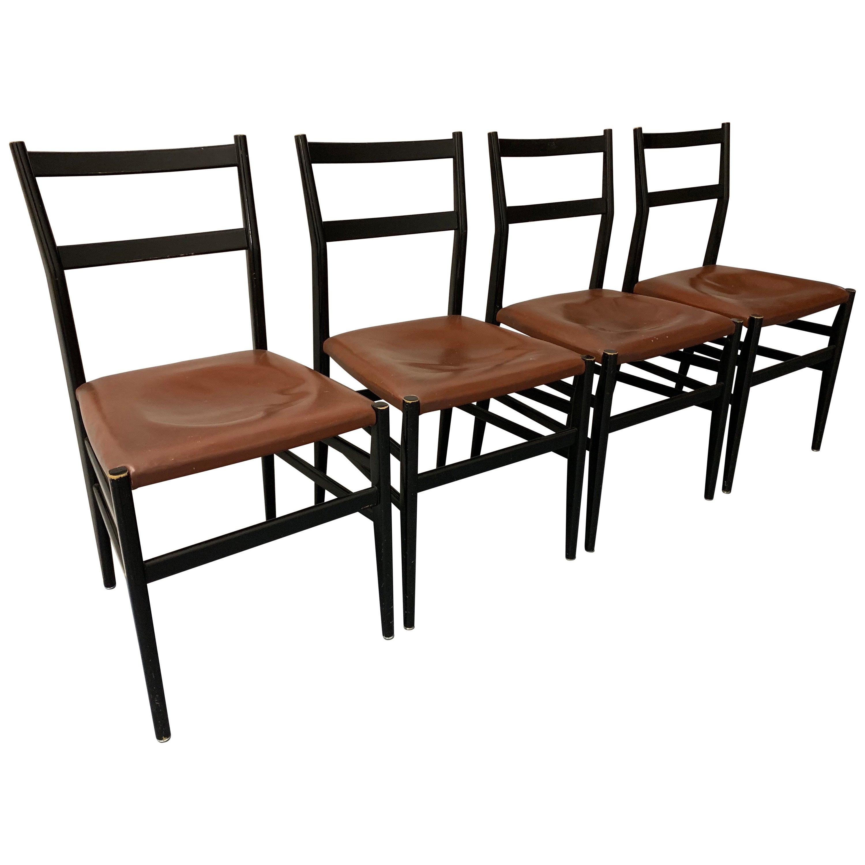 Set of 4 Leggera Chairs by Gio Ponti