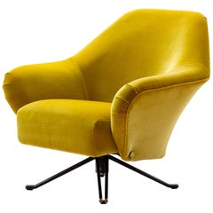 Osvaldo Borsani P32 Lounge Chair in Ochre Yellow Velvet for Tecno, Italy, 1956