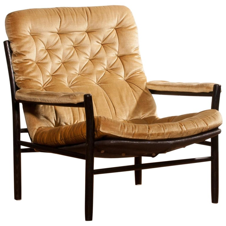1970s, Gold Velours Lounge Chair by Kenneth Bergenblad for DUX, Sweden For Sale