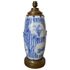 Antique Chinese Blue and White Porcelain Vase Mounted as Lamp, Floral Theme