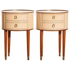 1950s, Bedside Tables in Mahogany and Brass by Halvdan Pettersson, Tibro, Sweden