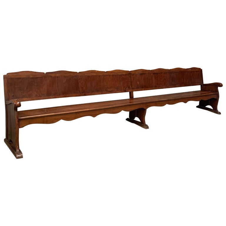 11.5´ 20th Century Monumental Church Walnut Bench Settee  For Sale
