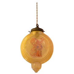 Art Deco Amber Glass Chinoiserie Pendant Light