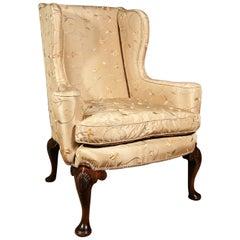 19th Century Walnut Wing Armchair Chair, circa 1820