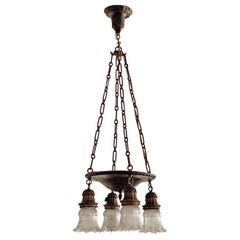 4-Bulb Suspended Cast Metal Pan Chandelier