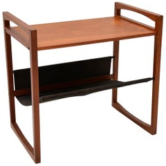 1960s Danish Teak and Leather Side Table by Kai Kristiansen