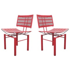 Two Pairs of Red Hans Ullrich Bitsch Chairs Series 8600