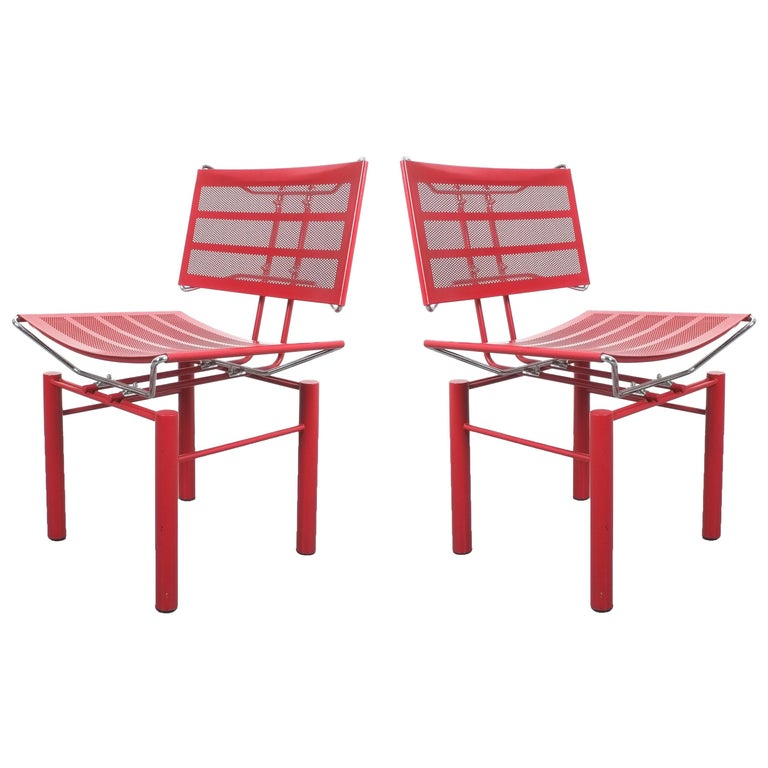 Two Pairs of Red Hans Ullrich Bitsch Chairs Series 8600 For Sale