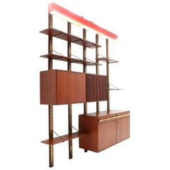 Italian Midcentury Wall Unit with Red Lamp, 1950s