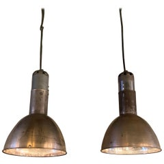 Pair of Industrial Nickel-Plated Steel Dome Factory Pendant Lights