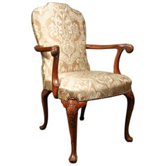Very Good Victorian Arm Chair of Queen Anne Design, in Mint Green and Mocha Silk