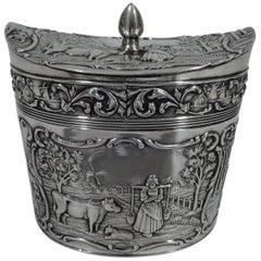 Antique Dutch Silver Sweet Pastoral Tea Caddy