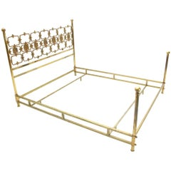 Italian Midcentury Wall Unit Brass Bed by Frigerio, 1960s