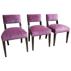 Set of Four Bruno Dining Chair in Ebonized Wood and Pink Fabric from Costantini