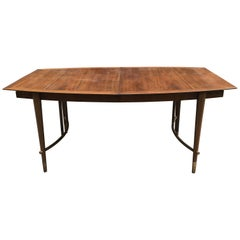 Bert England for Johnson Furniture Walnut and Brass Dining Table