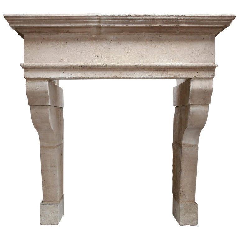 Antique Fireplace of French Limestone in Style of Louis XIII, 18th Century For Sale