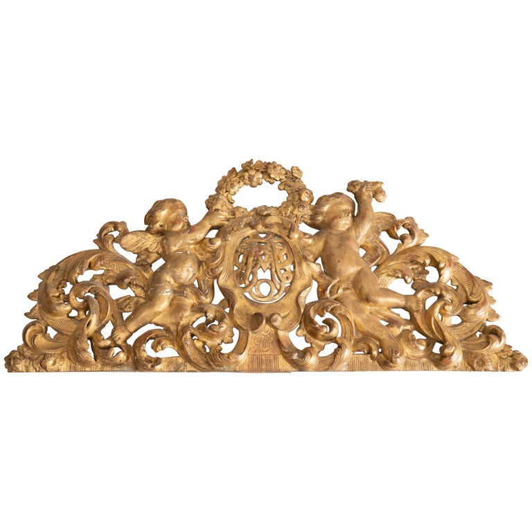 19th Century Giltwood Architectural with Putti For Sale