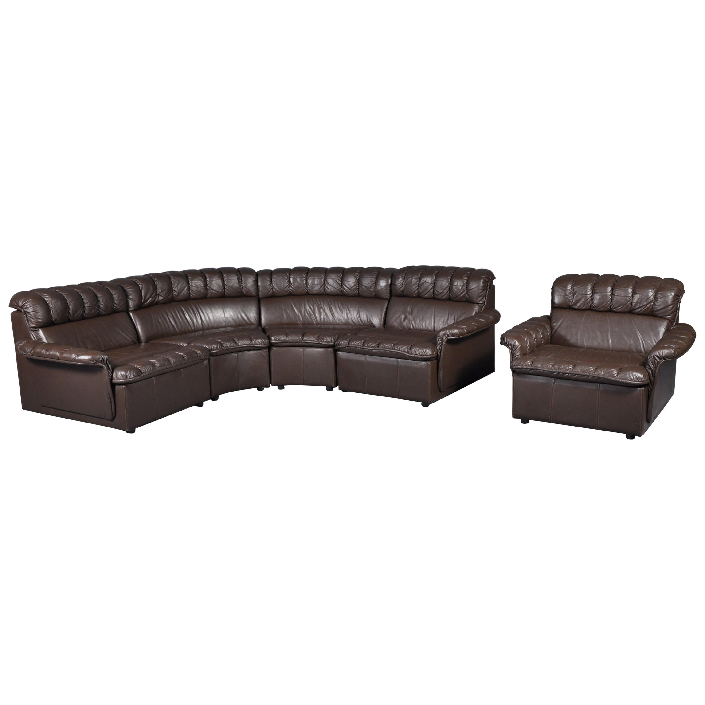 Vintage Modular Brown Leather Sofa And Armchair Set 1980s