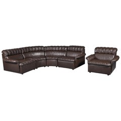 Vintage Modular Brown Leather Sofa and Armchair Set, 1980s
