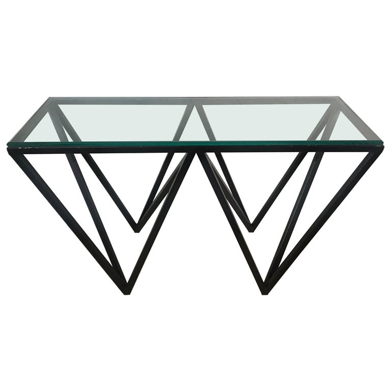 Postmodern Architectural Black Steel and Glass Console or Sofa Table For Sale