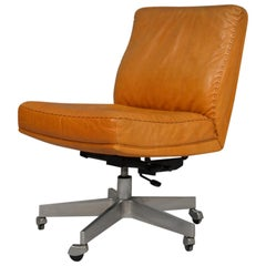 Vintage De Sede DS 35 Leather Swivel Office Chair on castors, 1960s