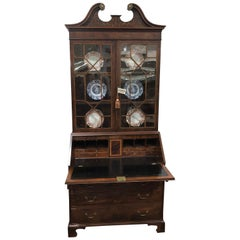 English Bureau Bookcase or Secretary, Exceptional Color and Style Inlaid Leather