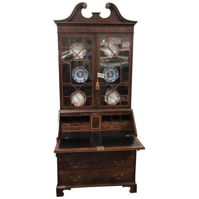 English Bureau Bookcase or Secretary, Exceptional Color and Style Inlaid Leather For Sale