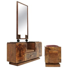Italian Midcentury Vanity Desk with Stool, 1930s