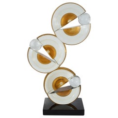 Modernist Handblown Murano Glass Geometric Sculpture with 24-Karat Gold Flecks