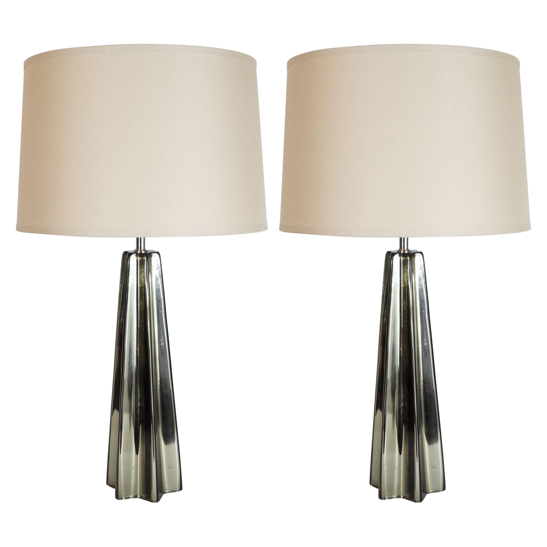 Modernist Pair of Handblown X-Form Lamps in Handblown Murano Mercury Glass