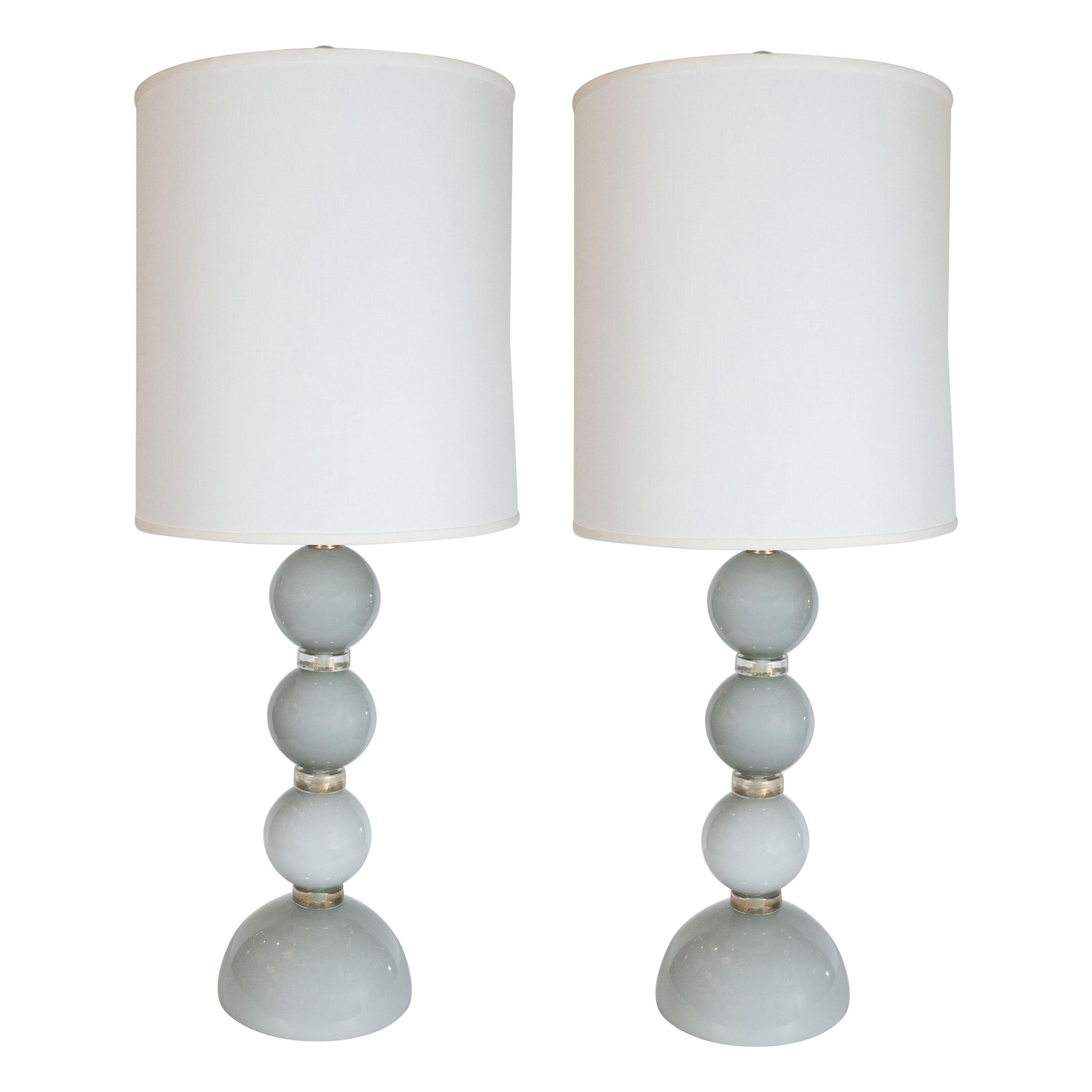 Pair of Modernist Dove Grey Murano Glass Table Lamps with 24-Karat Gold Bands