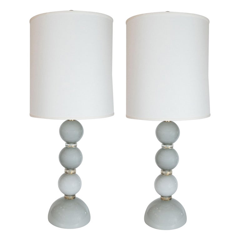 Pair of Modernist Dove Grey Murano Glass Table Lamps with 24-Karat Gold Bands For Sale