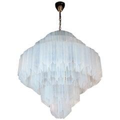 Modernist Hand Blown Murano Glass Opalescent 6-Tier Bias Cut Tronchi Chandelier
