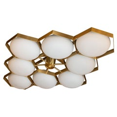 "Modernist Brass Handblown Murano Glass 8 Arm ""Honeycomb"" Flush Mount Chandelier"