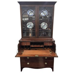 English Regency Secretary Bookcase in Manogany with Inlays and Leather Surface
