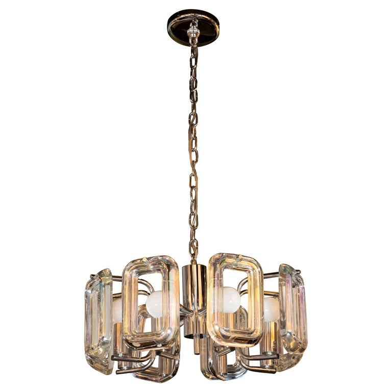 Mid Century Modern Rectilinear Chrome And Iridescent Gl Eight Arm Chandelier For