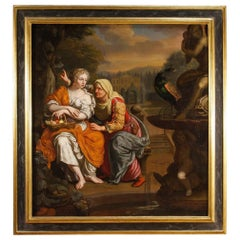 17th Century Oil on Canvas Dutch Mythological Painting Vertumnus and Pomona