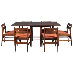 Mid Century Modern Set-Folding Dining Table and Six Chairs, 1960s