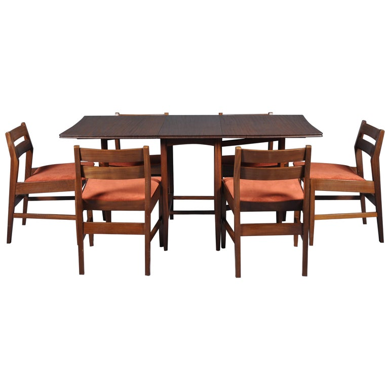 Cool Mid Century Modern Set Folding Dining Table And Six Chairs 1960S Ibusinesslaw Wood Chair Design Ideas Ibusinesslaworg