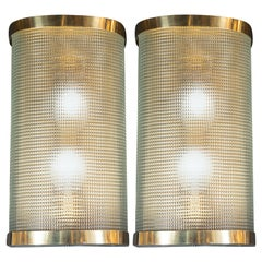 Mid-Century Modern Brass Wrapped Sconces with Rectlinear Textured Glass Shades