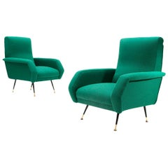 Italian Midcentury Green Armchairs by Gigi Radice for Minotti, 1950s, Set of 2