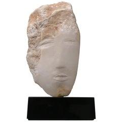 Wendy Hendelman White Marble Head Sculpture, 2018