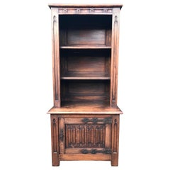 Practical Size Gothic Revival Bookcase Carved Cabinet, Iron Lock Plate & Hinges