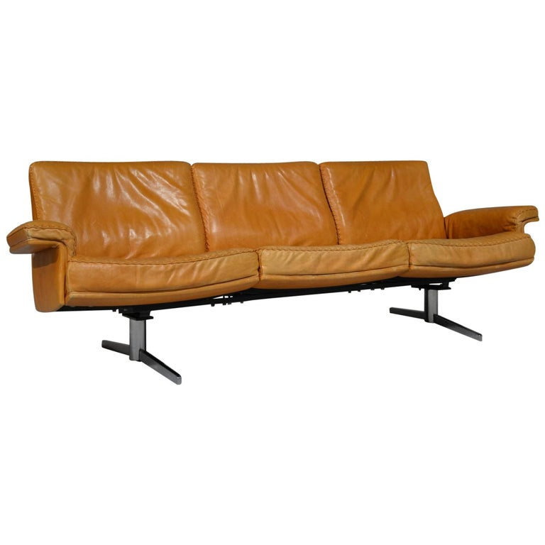 Vintage De Sede DS 35 Leather Three-Seat Sofa, Switzerland 1960s For Sale