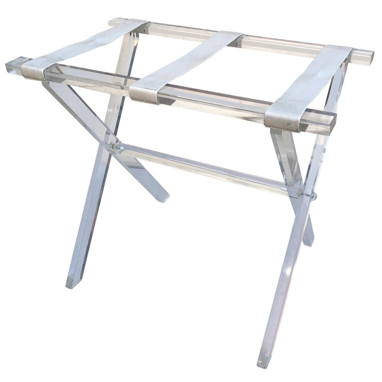 Vintage Hollywood Regency Lucite Tray Table or Luggage Rack For Sale