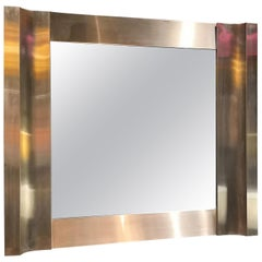 Stainless Steel Graphic Mirror, Italy, 1970s