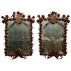 Pair of Late 18th Century Neoclassical Wrought Iron Italian Mirrors, 1780s